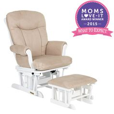 Enjoy comfort while rocking in the Shermag Glider Rocker and Ottoman in the White and Pearl style. #WTEAwards