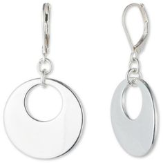 Nine West Silver Silver-Tone Ring Around Round Drop Earrings (£11) ❤ liked on Polyvore featuring jewelry, earrings, silver, silver jewellery, silver jewelry, round drop earrings, polish silver jewelry and nine west
