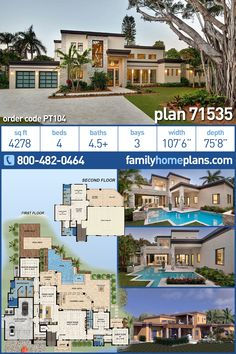 Large Florida style Modern home plan with amazing floor plan. With outdoor entertaining areas, covered lanai, wood deck, Modern House Floor Plans, Sims House Plans, House Plans One Story, Family House Plans, Contemporary House Plans, Barn House Plans, Luxury House Plans, Country House Plans, Dream House Plans