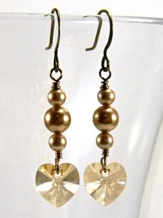 Gold Swarovski Crystal Heart Earrings by OrionOctober