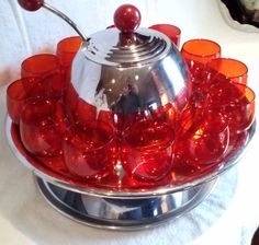 Retro 1950's Space Age Saturn Ring Punch Bowl Set by AVelvetTouch, $345.00 Kitsch, 1950s Halloween, Punch Bowl Set, Space Age, Glass Collection, Red Glass, Decanter, Midcentury Modern, Vintage Kitchen