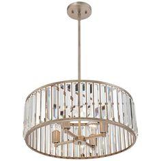 "Jania Crystal 20 3/4"" Wide Silver Leaf Pendant Light"