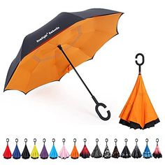 Windproof And Rainproof Double Folding Inverted Umbrella Game Super Mario Car Reverse Umbrella With C-Shaped Handle UV Protection Inverted Folding Umbrellas