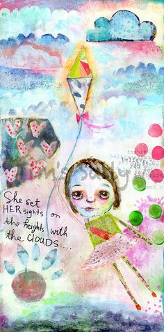 She Set Her Sights - mixed media art print by Mindy Lacefield