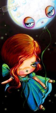 Windy Bird Dreams and Moon Balloon Lights the Midnight Sky...pinkytoast