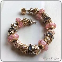 Pink and gold pandora Pandora Bracelets, Pandora Jewelry, Bling Jewelry, Pandora Charms, Jewlery, Pandora Gold, Pandora Collection, Grey Fashion, Pink And Gold