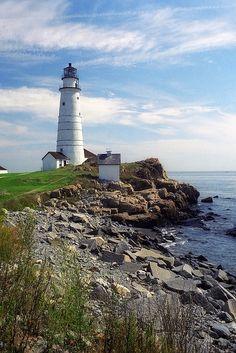 Look across the Ocean at Little Brewster Island, Boston Harbor