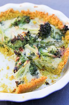 Broccoli and Cheddar Quiche with Quinoa Crust. The first quiche I've ever made, and it's delicious!