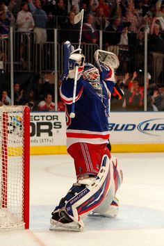 Lundqvist celebrates as time runs out on game 7 in the Rangers-Capitals series. NYR won the game and the series Youth Hockey, Ice Hockey, Canada Snow, Henrik Lundqvist, Hockey Coach, Time Running Out, Game 7, Washington Capitals, New York Rangers