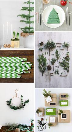 Luonnon materiaalit, syvät vihreän sävyt, luonnonvalkoinen, puu ja valkaisematon paperi inspiroivat kattamaan ja koristelemaan kotiin ihan uuden näköisen joulun.