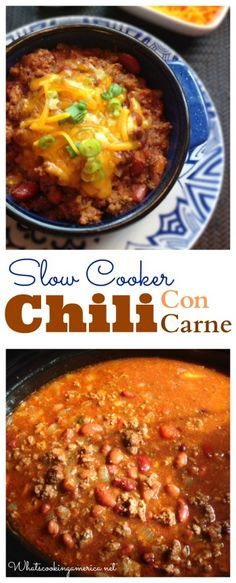 Slow Cooker Chili Con Carne Recipe  | whatscookingamerica.net  | #chili #concarne #slowcooker #beef