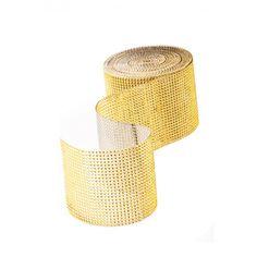 Diamond Rhinestone Ribbon Wrap Roll - Gold BULK (10 yards) [Buy Diamond Crystal Mesh GOLD] : Wholesale Wedding Supplies, Discount Wedding Favors, Party Favors, and Bulk Event Supplies