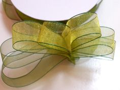 Green Ribbon, Offray Creations Lemongrass Green Organza Ribbon 5/8 inch wide x 50 yards by GriffithGardens on Etsy