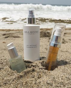 Hit the beach a little too hard this summer? This trio can help bring your skin back into balance. .  1. Use our Lifting Serum to restore a youthful glow and smooth wrinkles.   2. Our Refining Lotion gently exfoliates to reveal more radiant and even skin.  3. Cleansing Milk nourishes skin while delicately removing impurities.  .  All available at MillaMoursi.com!