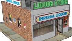 [New Paper Craft] Liquor Store for Diorama, RPG and Wargame Free Building Paper Model Download at PaperCraftSquare.com