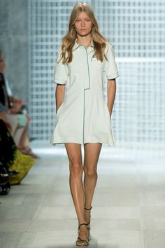 Spring 2014 Ready-to-Wear Lacoste /  Felipe Oliveira Baptista's new collection for Lacoste offered a master class in futurizing a venerable legacy. He teleported Lacoste from the 1930s to the 2030s without compromising the label's sporty credentials. In fact, if anything, he reinforced them, because the collection was a very clever celebration of all things tennis.