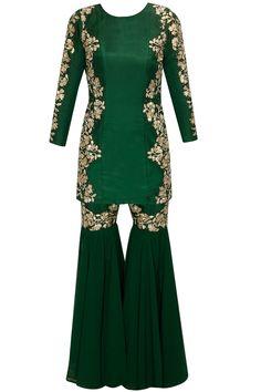 Green embroidered gharara kurta set by Astha Narang.  Shop at : http://www.perniaspopupshop.com/designers/astha-narang   #shopnow #perniaspopupshop #asthanarang