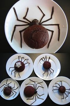 Spider cakes! Just looking at these gross me out which means they are a great Halloween idea!