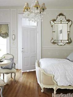 French-style bedroom. Design: Annie Brahler. Photo: Bjorn Wallander. housebeautiful.com . #french #mirror #bedroom #chandelier