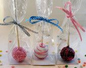 25 Cake Pop/Macaroon Bags - Perfect for cake pops, macaroons, mini cupcakes and rock candy 2x2x8.25""