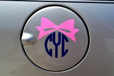 CIRCLE MONOGRAM with BOW Vinyl Car Decal  by embellishboutiquellc, $4.00