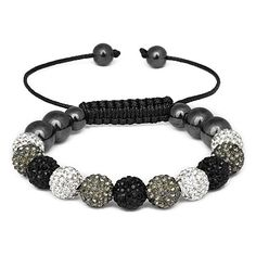 Stephanie Crystal Bracelet The Stephanie Bracelets are the most talked about jewelry item so far this season. This Crystal Stephanie bracelet consists of an 11 piece Grey, White and Black Austrian Crystal Pavé Balls strung together with weaved black cotton and finished with a hematite beaded pull. $59.99 #fashion #jewelry #crystal #bracelet