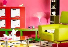 Creative Idea:Neon Room With Yellow Sofa Also Round Glass Coffee Table Plus Long Green Cabinet Near Pop Art Wall Decor Outstanding Interior Design Ideas with Pop Art Style