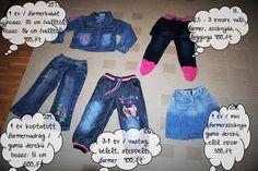 3-4 éves kislány farmer ruhák: nadrágok, szoknya, farmerkabát: 500,-Ft-tól