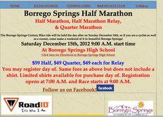 December half marathons in California - run Borrego Springs Half Marathon Saturday December 15, 2012 http://www.halfmarathonclub.com/California_Half_Marathon_Races.html