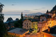 Montreux, Switzerland at night.