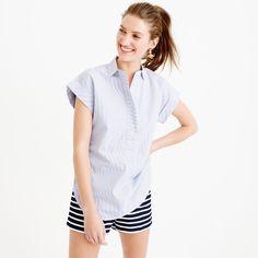 Short-sleeve popover shirt in stripe