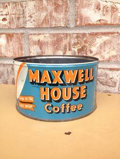 Vintage / Retro Maxwell House Coffee Tin - Aqua / Turquoise / Orange Round Metal Tin  on Etsy, $7.95