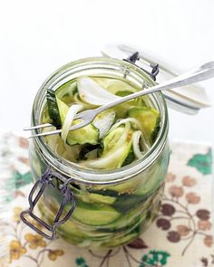 Refrigerator Pickles  These easy refrigerator pickles do not require any special canning equipment. The tangy, crisp pickles are made with Kirby cucumbers, Vidalia onion (or another variety of sweet onion), and celery.  Get the Refrigerator Pickles Recipe