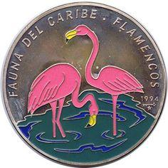 Moneda 5 onzas de plata 50p. Cuba Fauna del caribe Flamencos 95