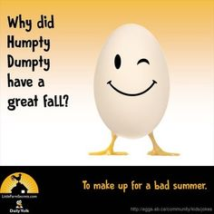 Why did Humpty Dumpty have a great fall? To make up for a bad summer. Funny Jokes And Riddles, Farm Jokes, Cute Jokes, Funny Jokes For Kids, Corny Jokes, Funny Puns, Kid Jokes, Funny Stuff, Riddles Kids