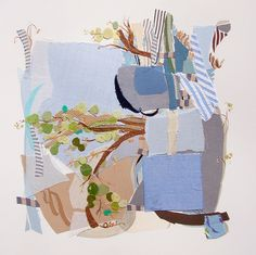 Unusual Vine 4 by Karin Olah  Fabric and Mixed Media on Paper