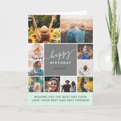 Modern simple birthday teal 10 photo collage grid card Purple Birthday, Glitter Birthday, Happy Birthday Ashley, Cool Signatures, Collage, Wish You The Best, Unisex, Custom Greeting Cards, Photo Cards