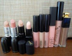 10 Nude Lip Products ♥  Lipsticks  1) Mac Creme d'nude (Cremesheen)   2) Mac Hue (Glaze)   3) Gosh Darling - Evening nude!  4) Barry M 101 (Marshmellow) - palest nude  Lipglosses  5) Mac Underage - Very pigmented pink nude  6) Mac C-thru - Very pigmented peach nude  7) Mac Mouthwatering - Shimmery peach / pink nude  8) Nars Turkish Delight - Gorgeous pretty pink nude  9) BeneFit (LG23) Didn't hear it from me - Beautiful peach nude  10) Dior Addict Ultra-Gloss 313 - Shimmery frosty brown nude
