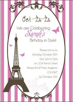 Paris Birthday Theme Invitations