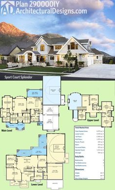 Introducing Architectural Designs Luxury House Plan With a sport court in the lower level were calling this one Sports Court Splendor 6 beds over 6000 sq ft and. Luxury House Plans, Dream House Plans, My Dream Home, 6 Bedroom House Plans, Large House Plans, 4000 Sq Ft House Plans, Luxury Floor Plans, Cool House Plans, House Design Plans