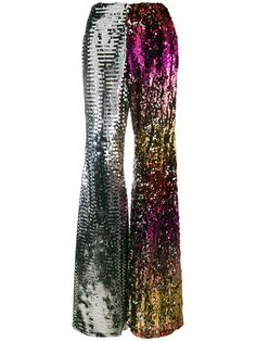 Halpern Two-tone Sequined Pants, Pink/gold Metallic Trousers, Sequin Pants, Wide Leg Trousers, Flare Palazzo Pants, Flare Pants, Flared Palazzo, Palazzo Trousers, Disco Fashion, Girl Fashion