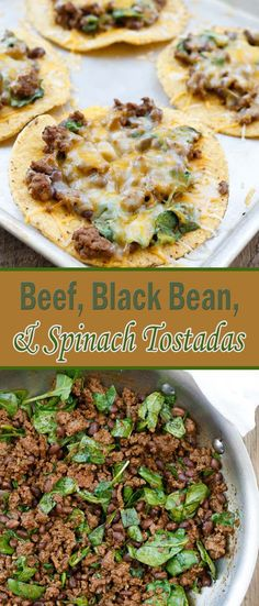 Beef, Black Bean, and Spinach Tostadas