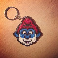 Papa Smurf keyring Hama mini beads