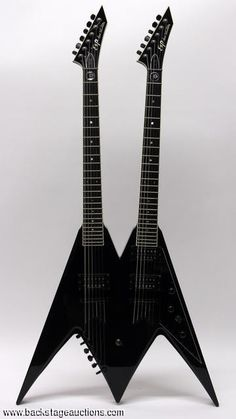 Dave Mustaine ESP DV8 Double-Neck Flying V 18-string guitar. Sold at Backstage Auction