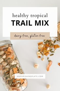 This tropical trail mix recipe uses a combination of dried fruits, nuts, and crunchy add-ins for a salty-sweet taste. It's full of healthy fats, is free of refined sugar, and is naturally both gluten-free and dairy-free. Tropical Trail Mix Recipe, Healthy Mind, Healthy Fats, Trail Mix Recipes, Dairy Free Cookies, Freeze Dried Fruit, Simple Blog, Sweet And Salty, Dairy Free Recipes