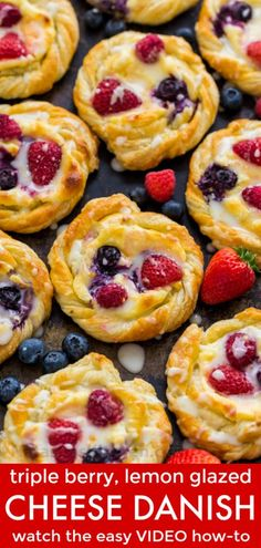 This Cream Cheese Danish recipe is so easy to make. The cheese danish filling tastes just like cheesecake and the fresh berries and lemon glaze add a bright pop of flavor. This puff pastry recipe always disappears fast! | natashaskitchen.com