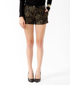 Metallic-Blend Lace Shorts w/ Belt | FOREVER21 - 2021839635