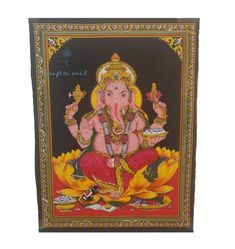 A well-respected and highly worshipped God with Hindu followers, Ganesha has found influence within the western world. Incorporating lively colours usually associated with marriage, this deity's wisdom will shine through in any room this tapestry is fortunate enough to be hung.  Size 110x75CM 100% Cotton fabric Screen Printed Usage: Tapestry, Wall Hanging, Altar Cloth Made in India Wall Hanging Crafts, Tapestry Wall Hanging, Altar Cloth, Western World, Ganesha, Deities, Screen Printing, Followers, Cotton Fabric