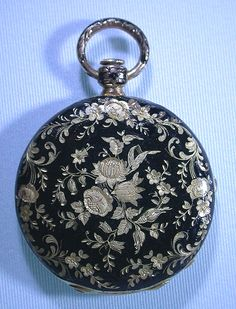 18K gold and enamel ladies hunting case antique pendant watch circa 1830.