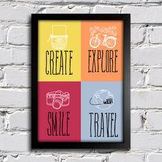 Poster Create Explore Smile Travel - Encadreé Posters